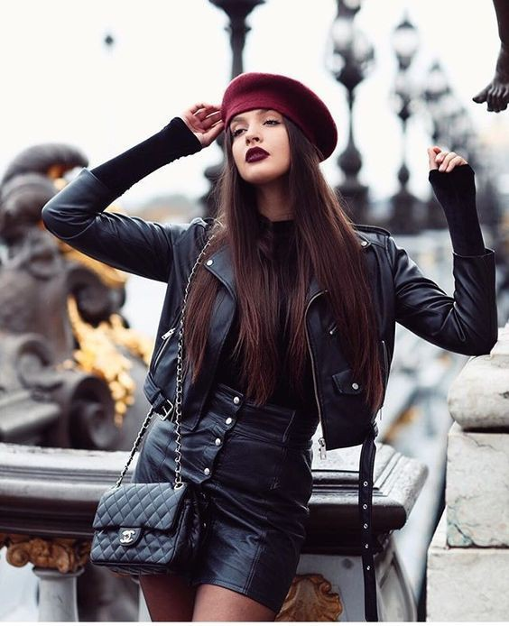 Colour combination with fashion accessory, leather jacket, leather