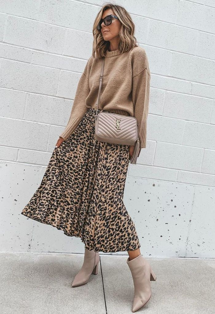 Beige and brown colour outfit, you must try with dress sweater, denim, skirt