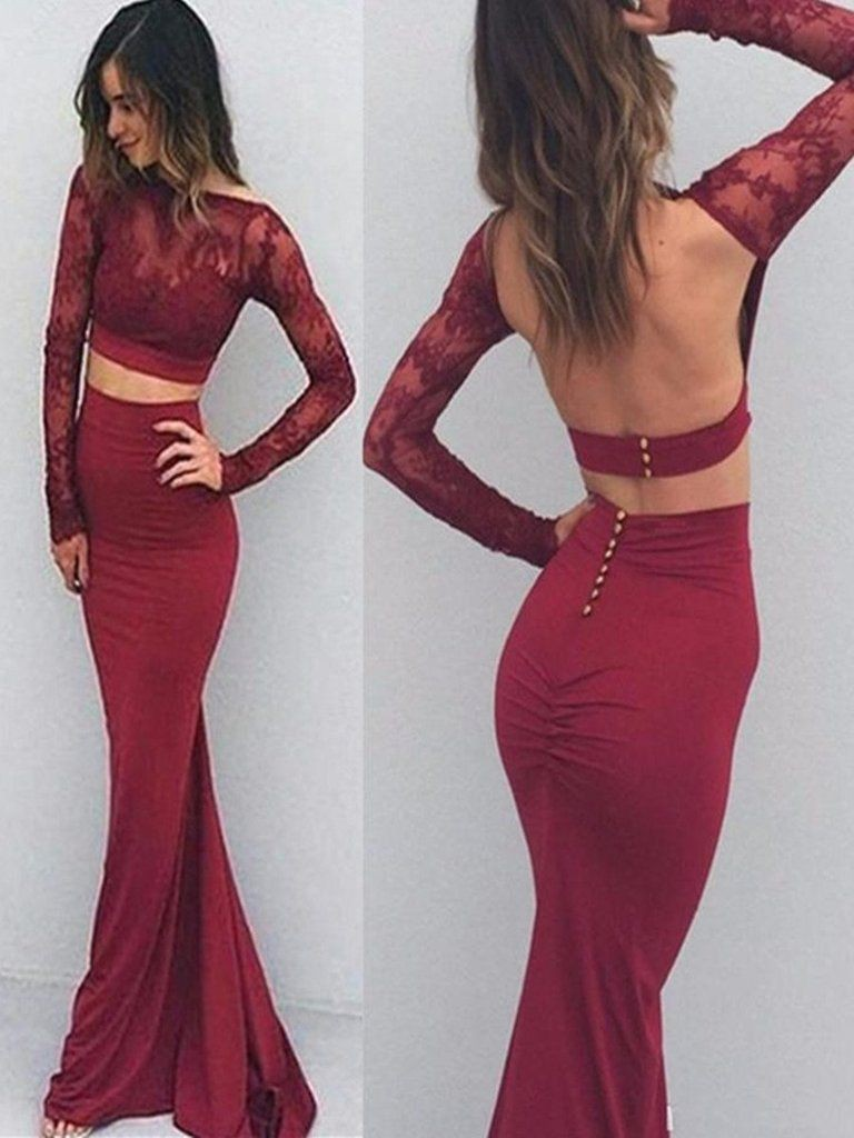 Long sleeve prom dresses backless