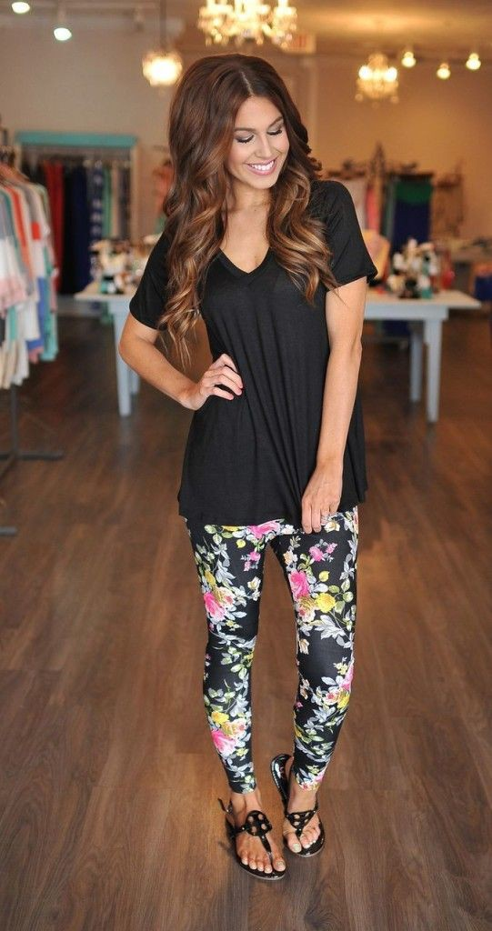 Cute outfits with leggings and sandals