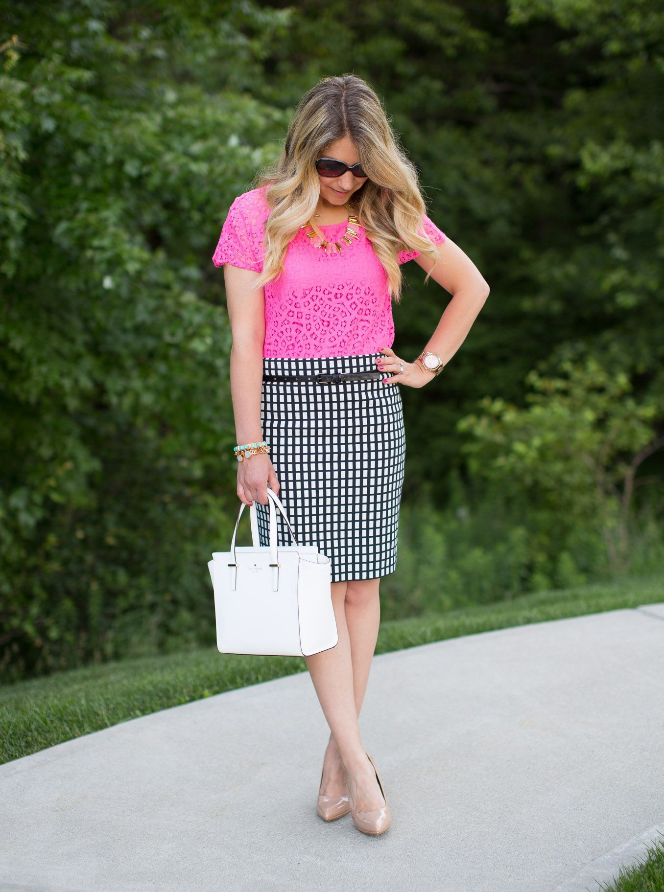 White and pink colour combination with pencil skirt, polka dot, tartan
