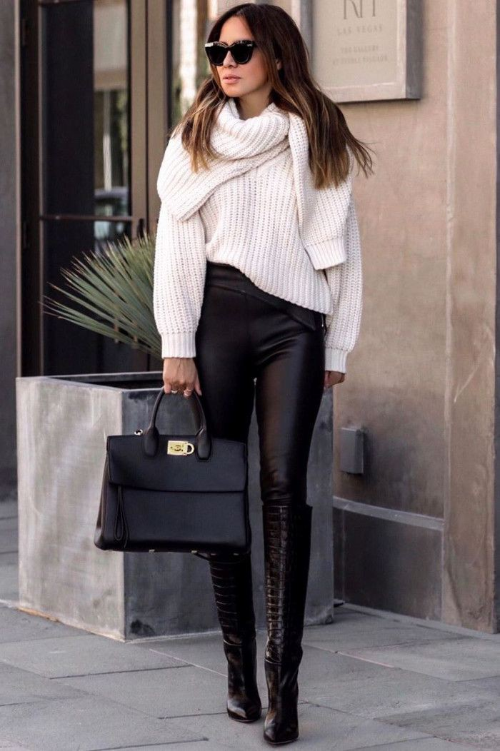 Black and white colour outfit ideas 2020 with trousers, leggings, sweater