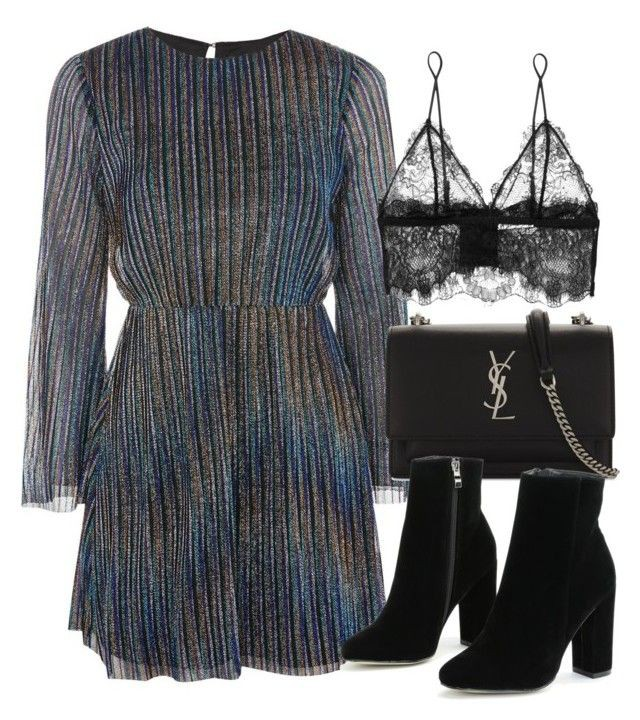 Black and blue style outfit with little black dress, wrap dress, little black dress, fashion acc ...
