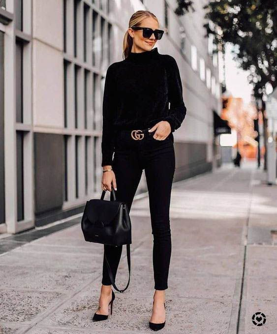 All black outfit women black and white, slim fit pants