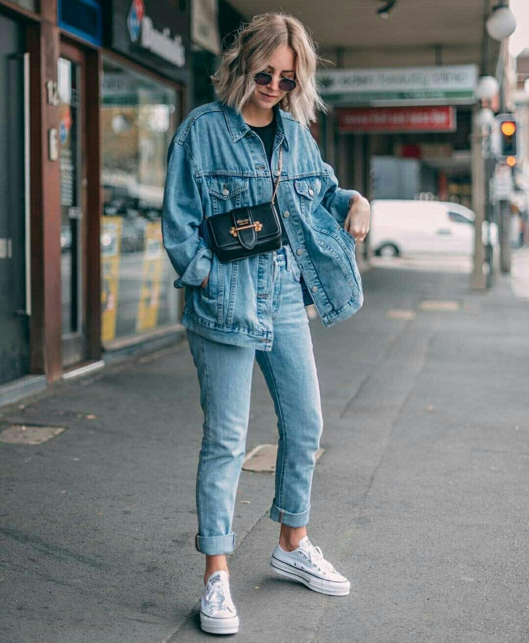 Oversized denim jacket outfit ideas