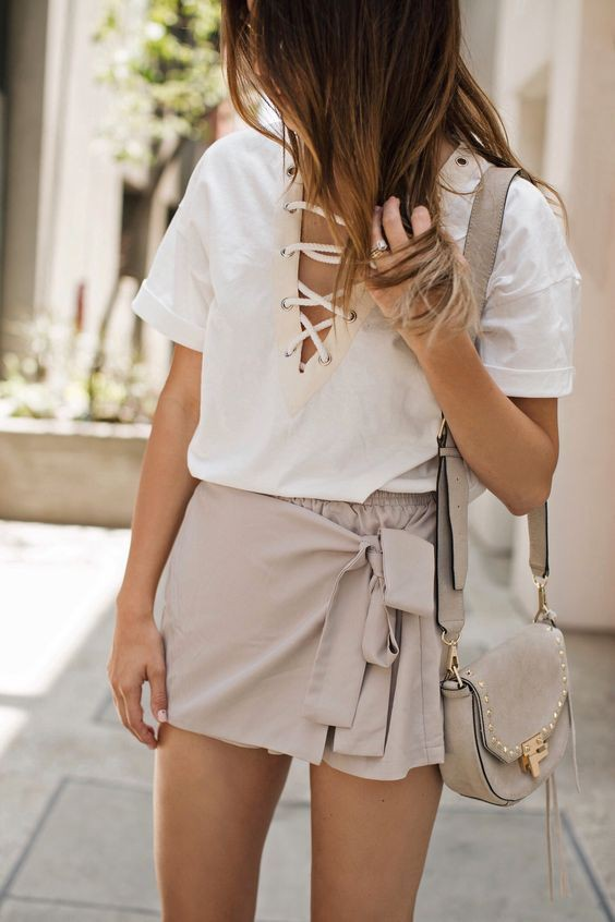 Khaki and beige clothing ideas with wedding dress, shorts, skirt