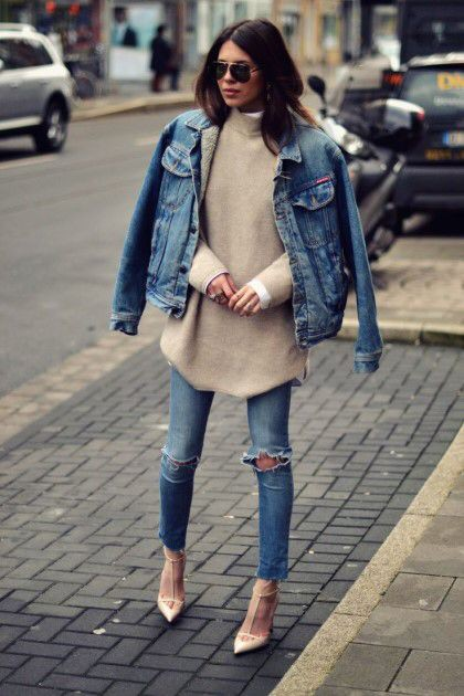 Colour outfit with jean jacket, trousers, sweater