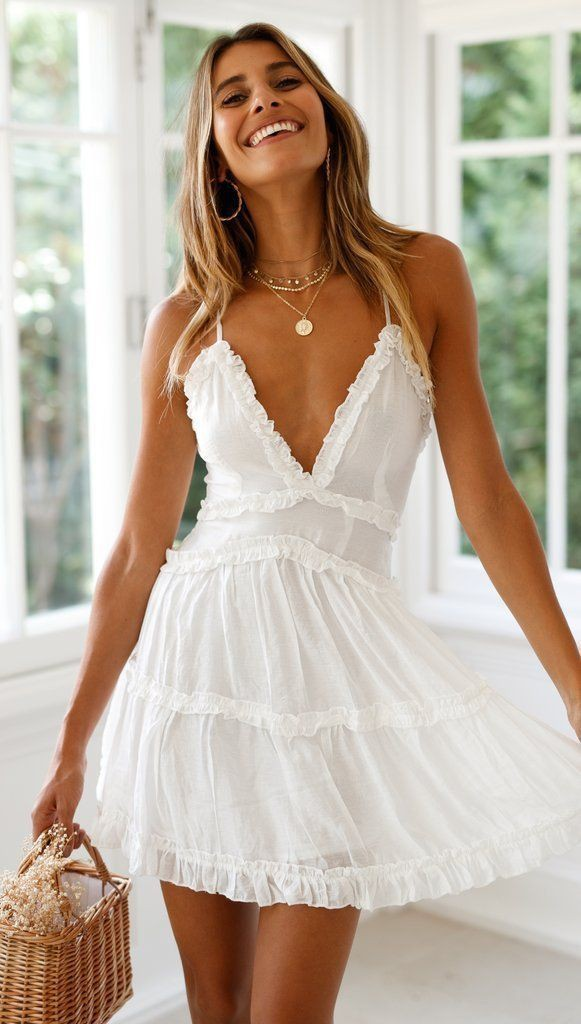 White trendy clothing ideas with party dress