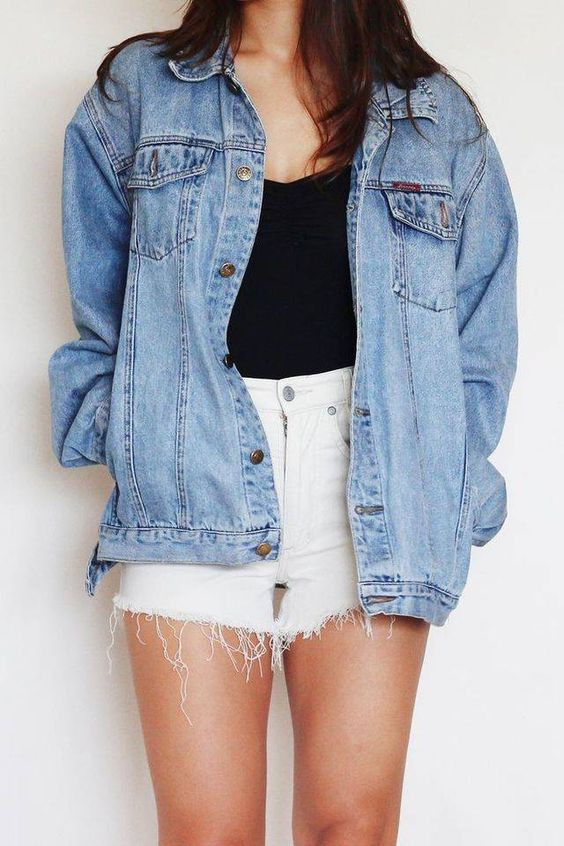 Denim jacket outfit with shorts