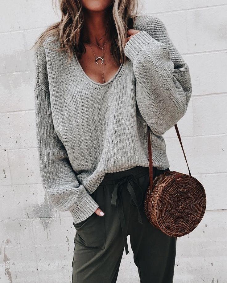 V neck womens sweater, street fashion, casual wear, t shirt