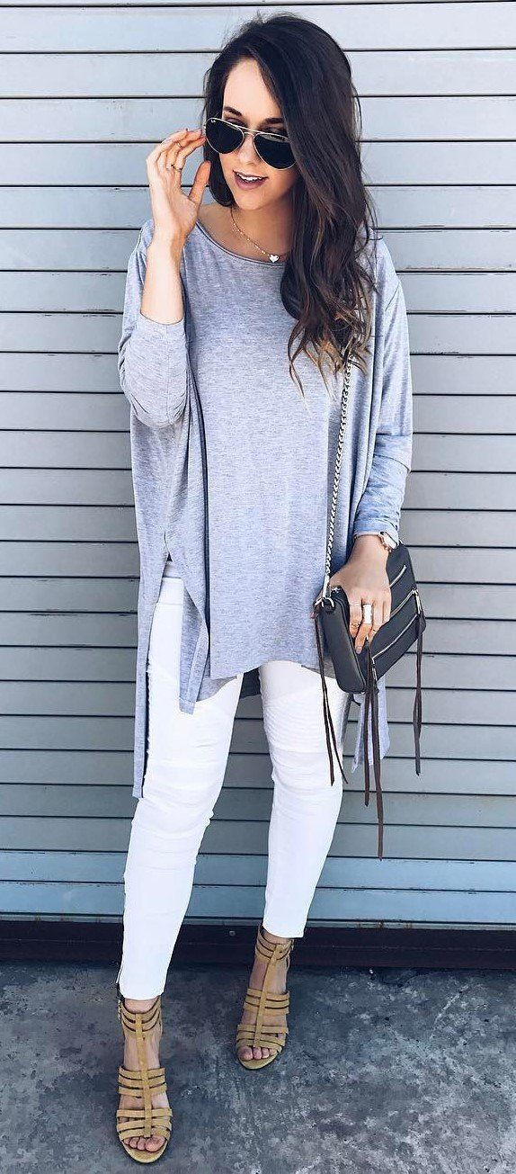 White colour outfit ideas 2020 with jean jacket, sweatpant, leggings