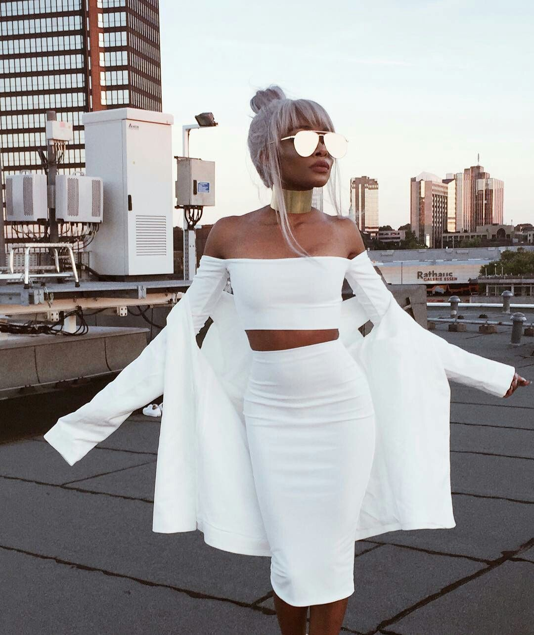 All white party outfit, fashion design, street fashion, wedding dress, party dress, white party