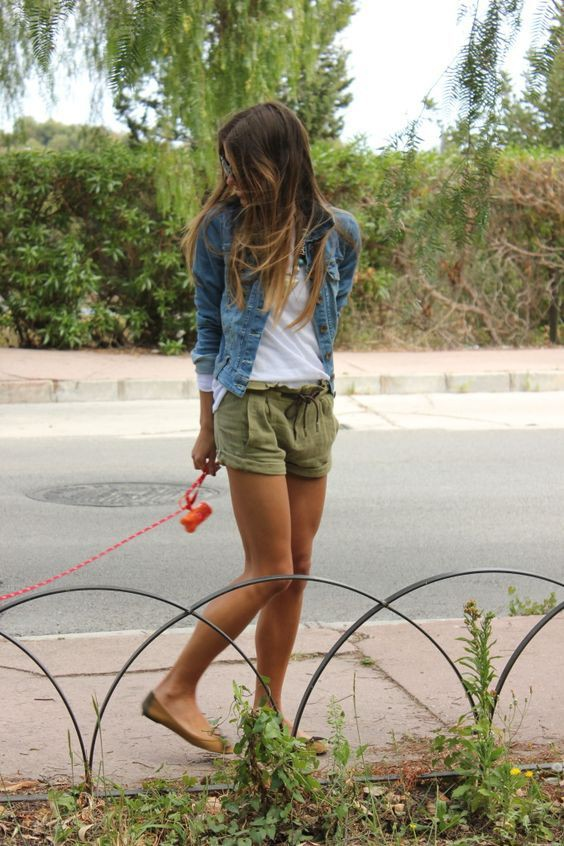Attire green shorts outfit, casual wear, cargo pants, jean jacket, t shirt