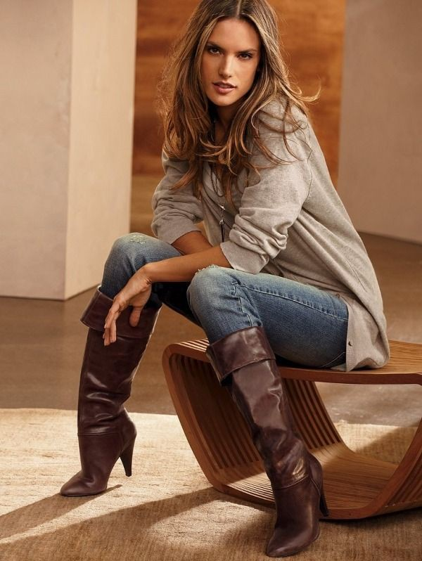 Colour ideas alessandra ambrosio boots alessandra ambrósio, thigh high boots, high heeled shoe,  ...
