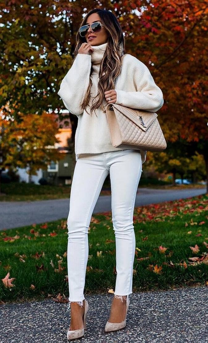 White attire with jean jacket, sweater, jacket