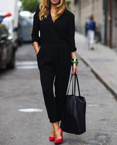 Black jumpsuit with red shoes