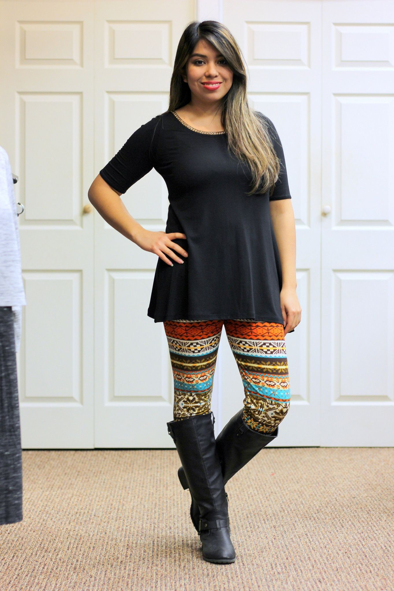 Yellow and black dresses ideas with leggings, jeans
