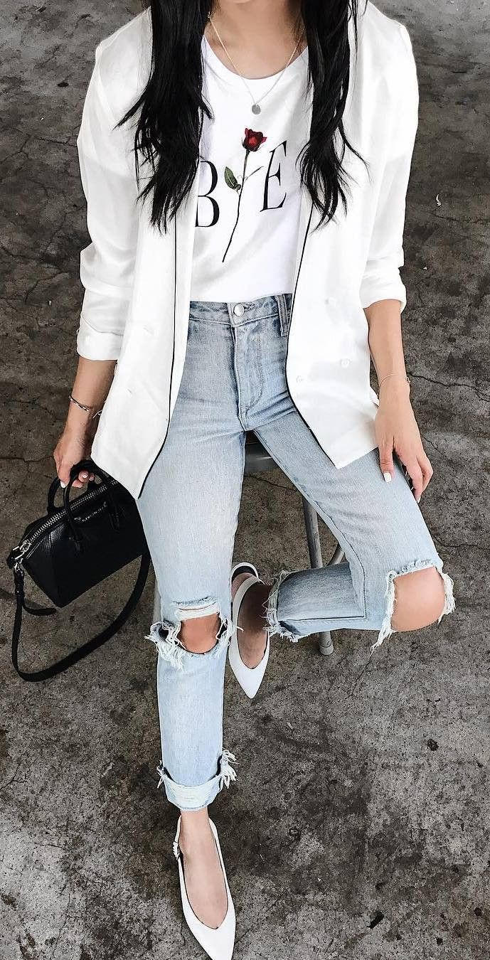 White trendy clothing ideas with blazer, denim, jeans