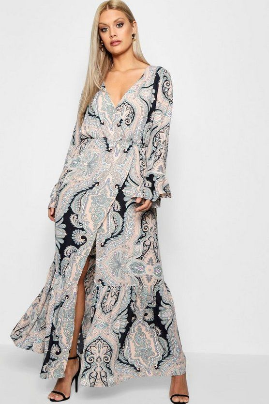 Paisley wrap maxi dress, online shopping, fashion model, maxi dress, day dress