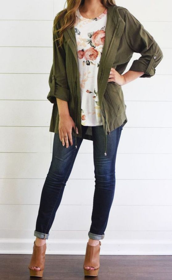 Army green jacket outfit, casual wear, t shirt