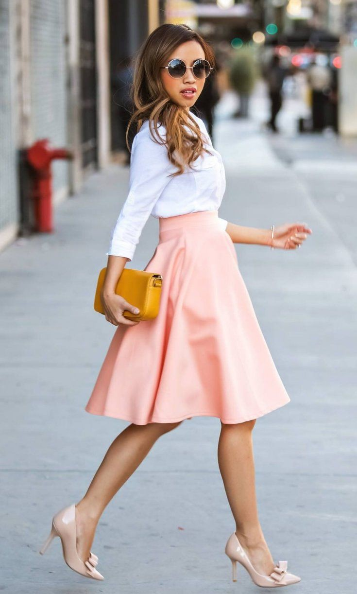 Orange and yellow colour dress with dress shirt, skirt, top
