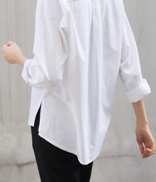 White colour outfit with dress shirt, trousers, blouse