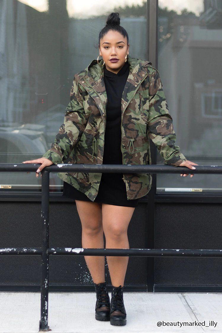 Plus size longline camo jacket