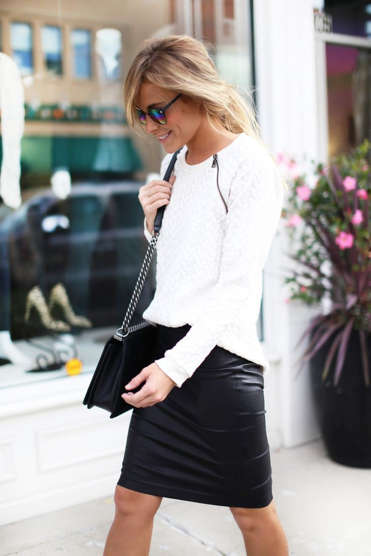 Black and white dresses ideas with leather skirt, trousers, leather