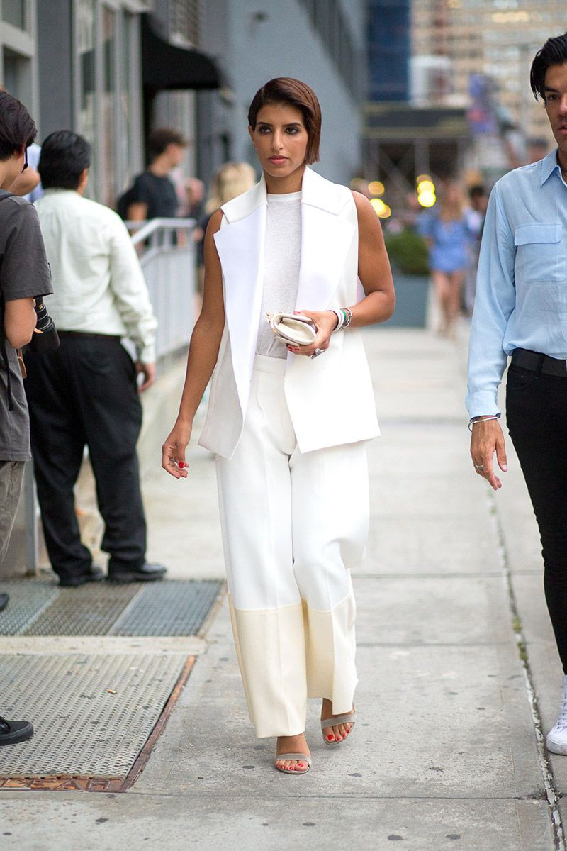 Sleeveless white pant suit women