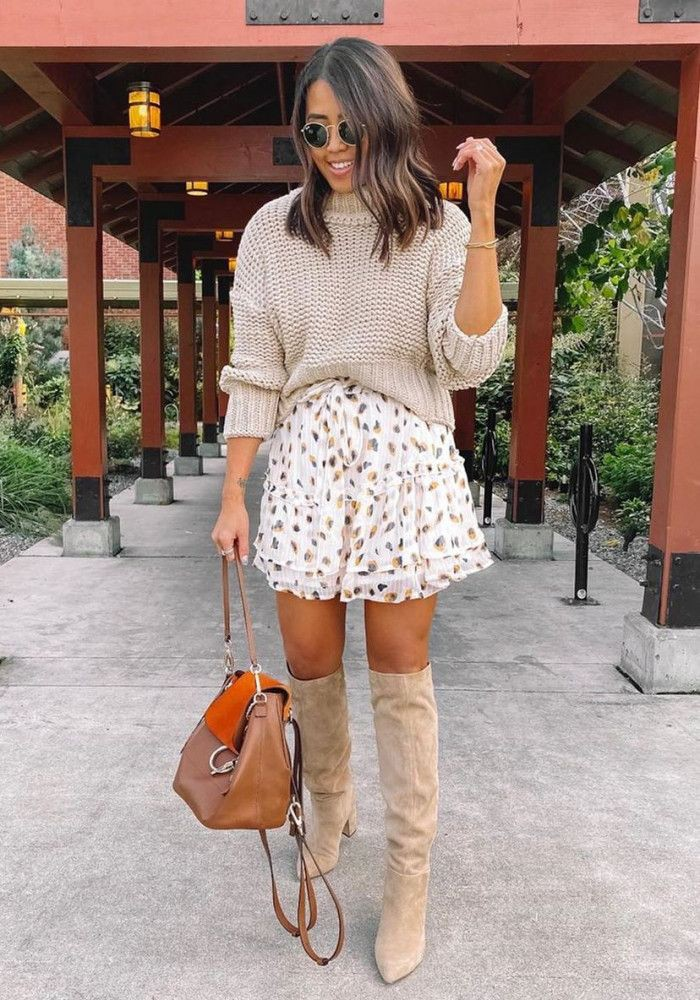 Orange and brown colour outfit ideas 2020 with dress sweater, skirt