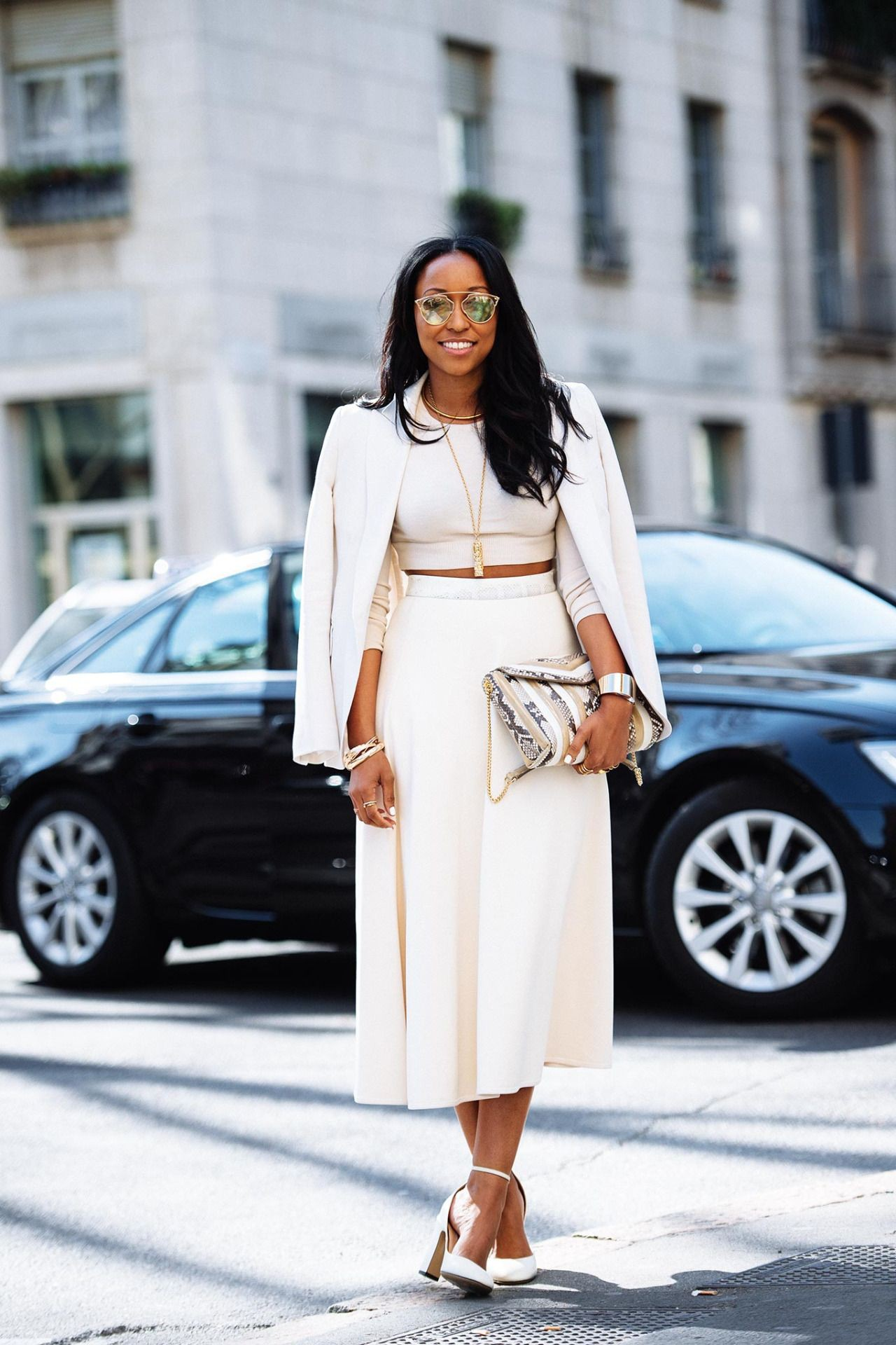 White colour outfit, you must try with trench coat, crop top, blazer