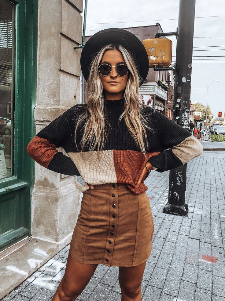 Black and brown colour combination with sweater, jacket, jeans