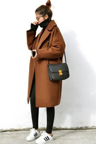Brown colour outfit with trench coat, overcoat, coat