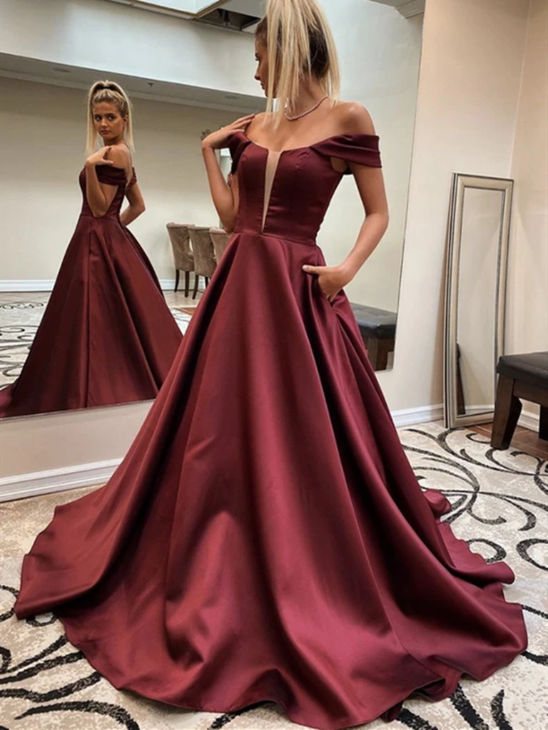 Wine red prom dress off the shoulder