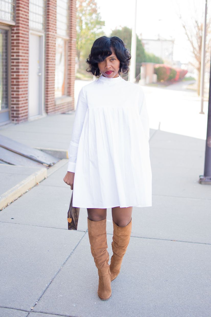 White shirt dress outfit winter