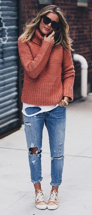 Chunky sweater with boyfriend jeans