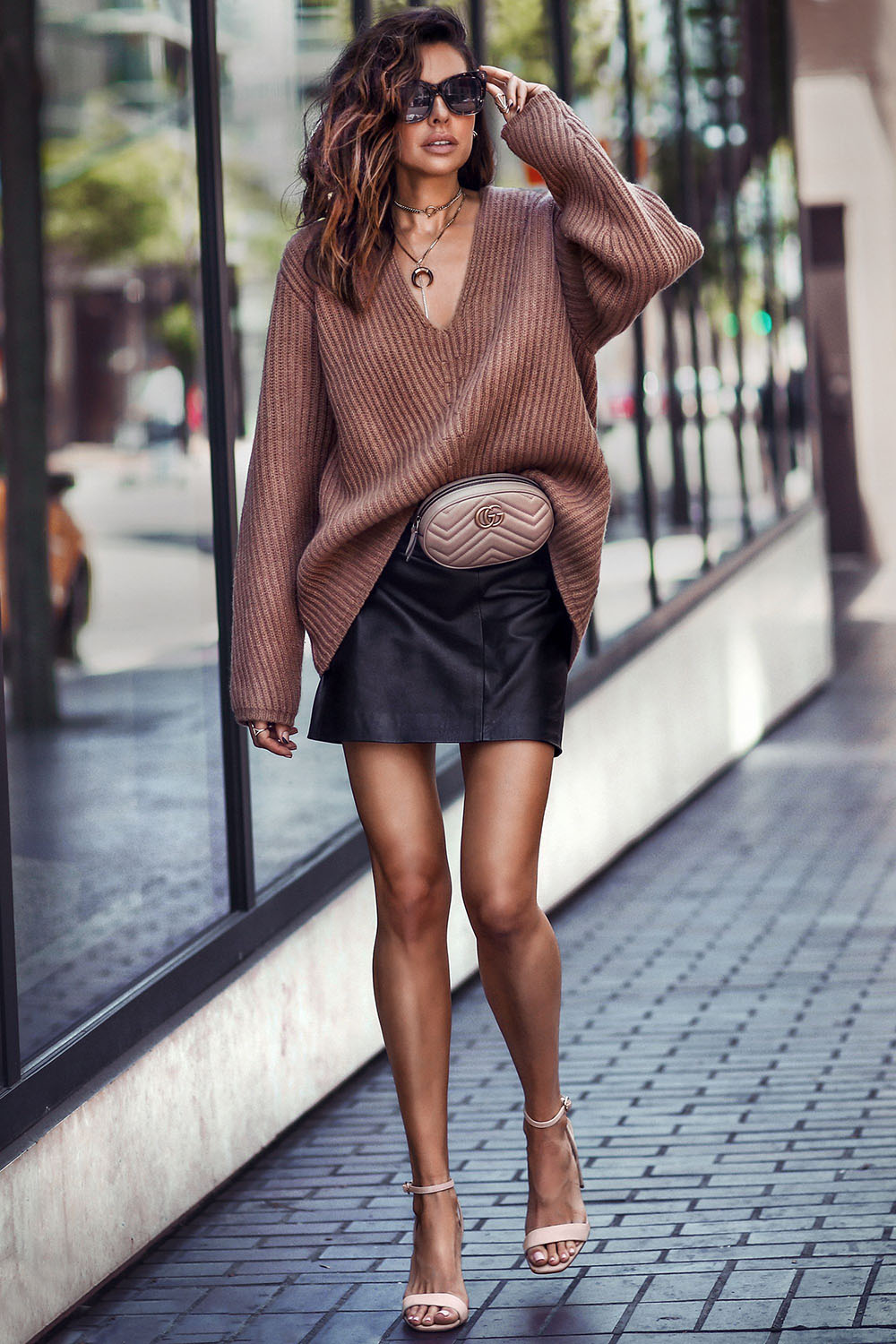 Brown outfit style with leather dress handbag, fashion accessory