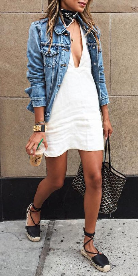 Denim jacket spring outfits, street fashion, casual wear, jean jacket, t shirt