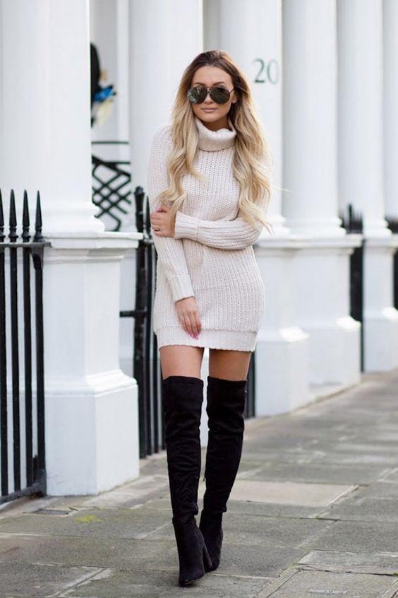 Instagram dress tenue cuissarde femme thigh high boots, knee high boot