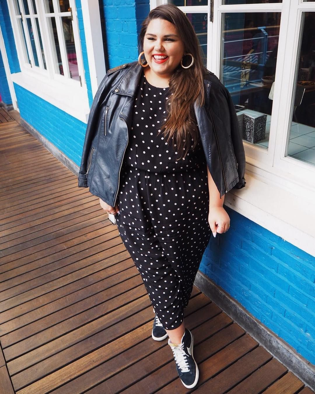 Black and white outfit ideas with leather jacket, polka dot, jacket