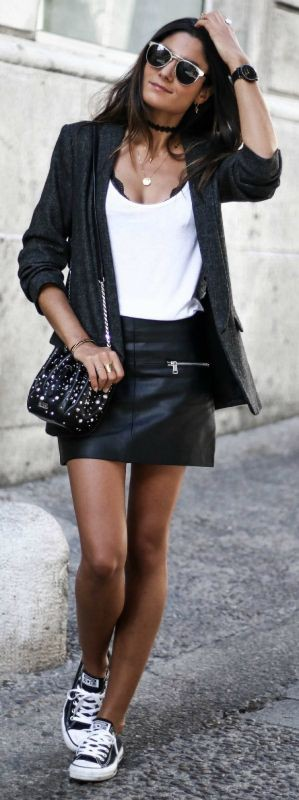 Leather mini skirt outfit, street fashion, leather skirt