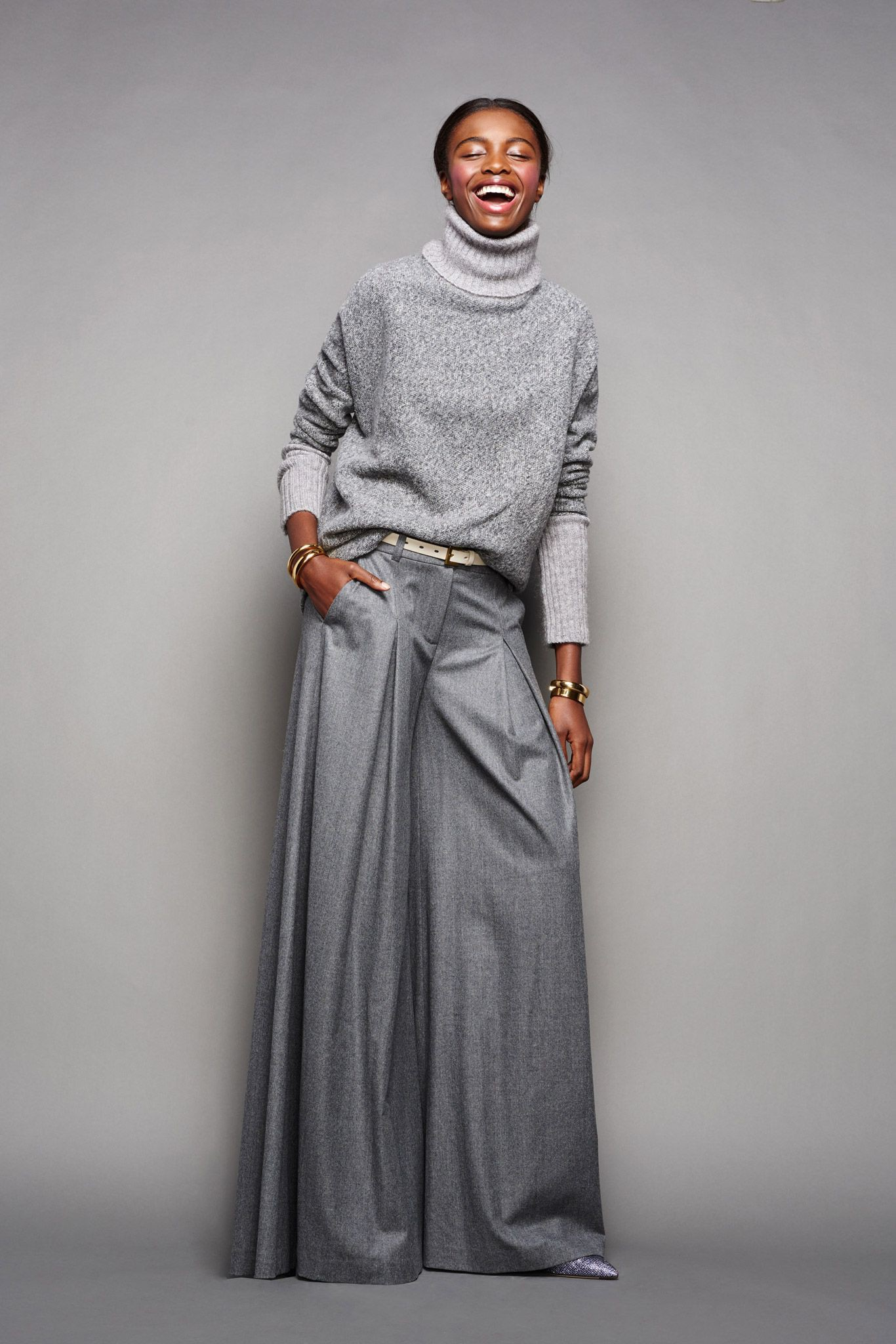 J crew gray pants ready to wear, fashion model