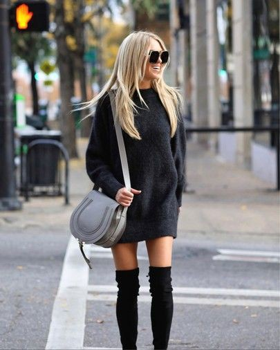 Black colour outfit with miniskirt