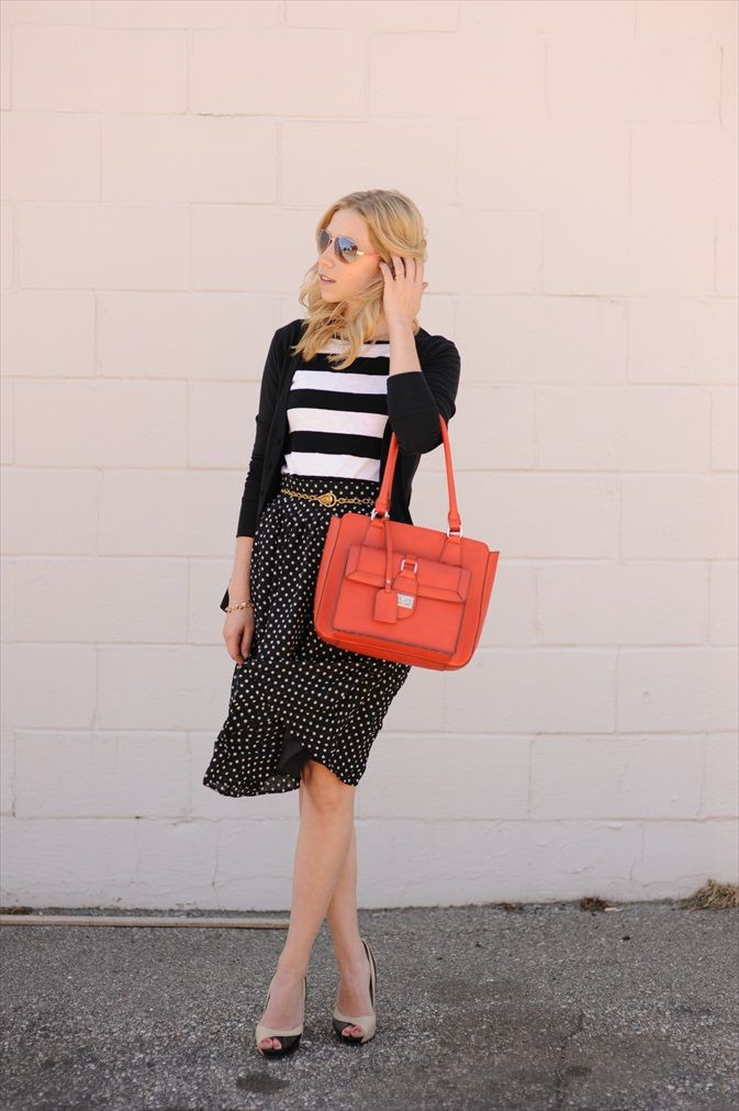 Orange and white vogue ideas with polka dot, trousers, skirt