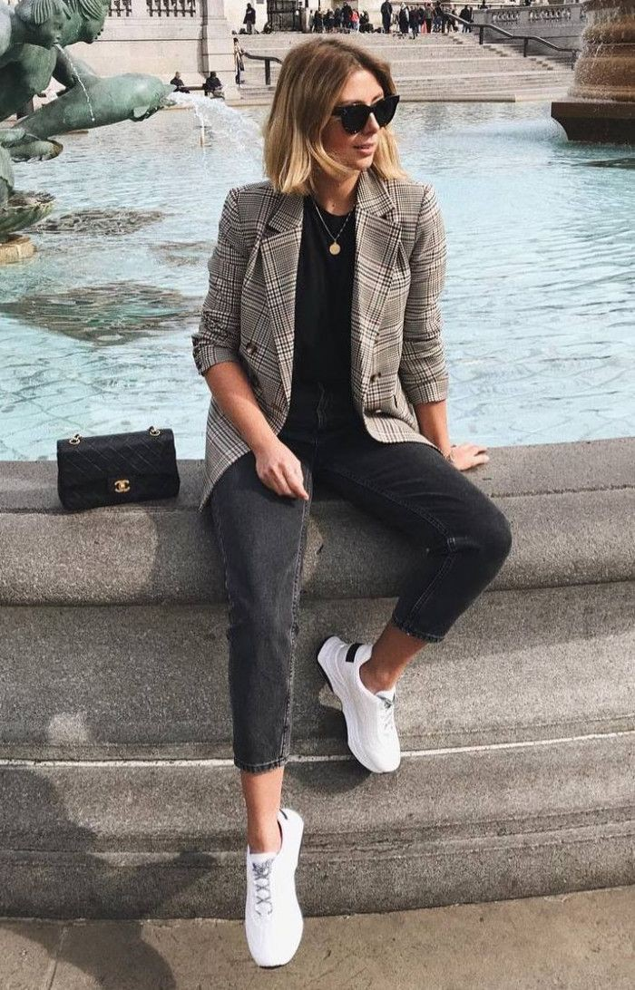 Plaid blazer outfit with sneakers