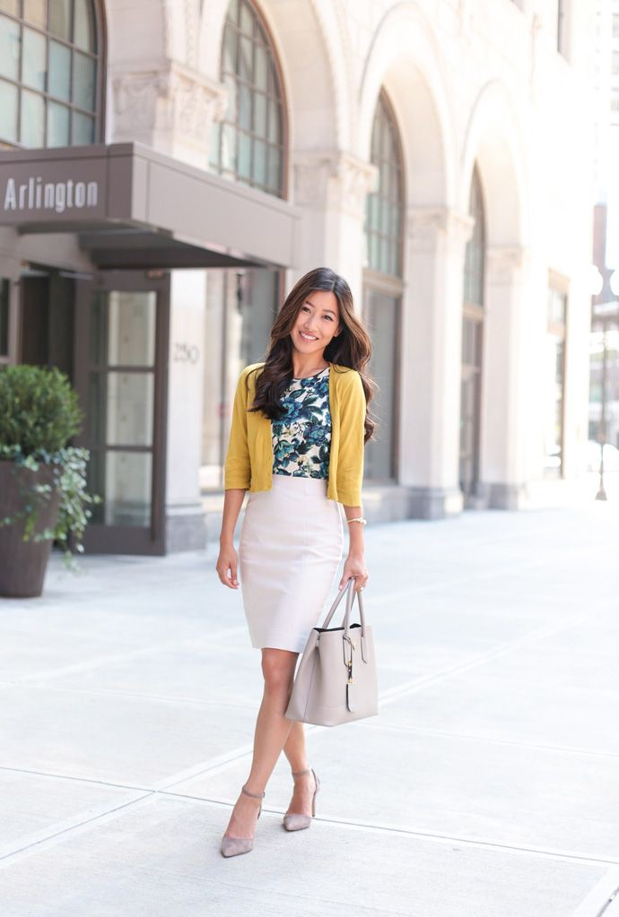 Colour outfit, you must try summer professional outfits, business casual, street fashion, pencil ...