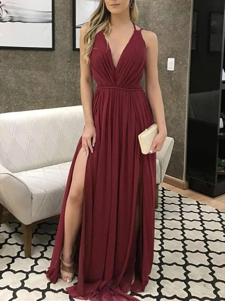 Aline v neck burgundy prom dress