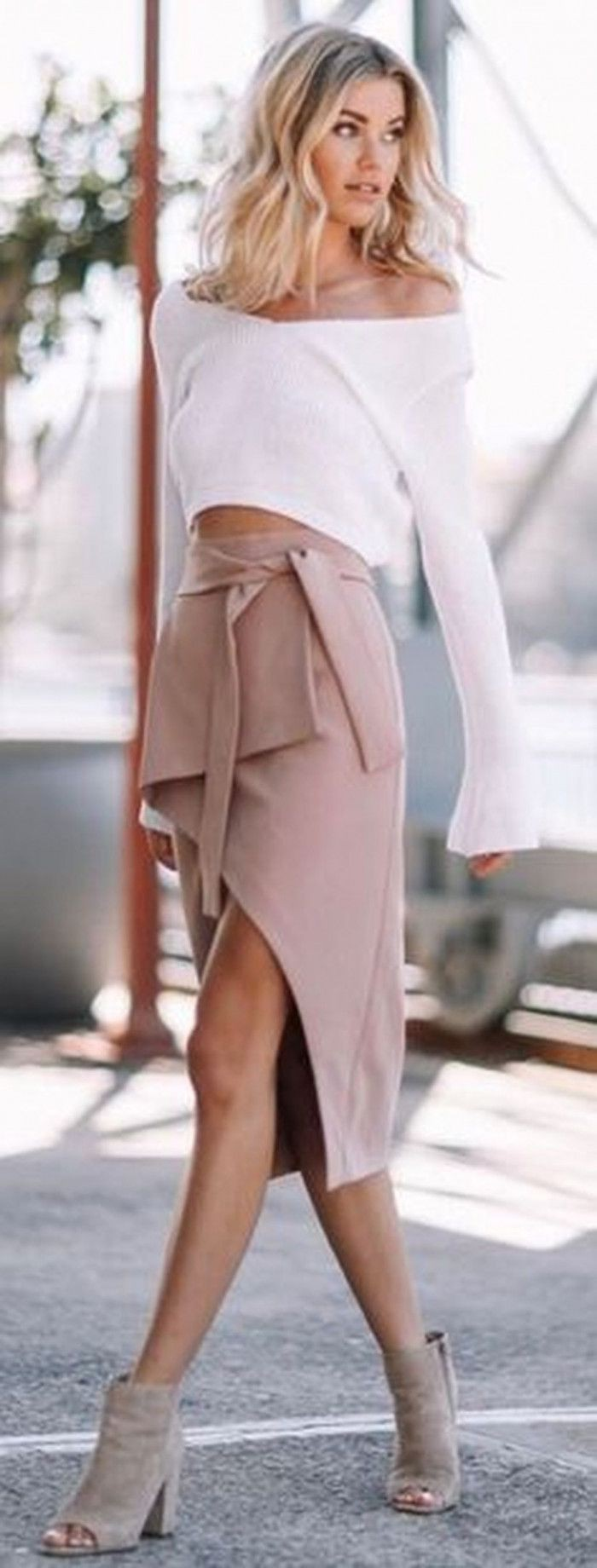 White and pink style outfit with pencil skirt, crop top, jacket