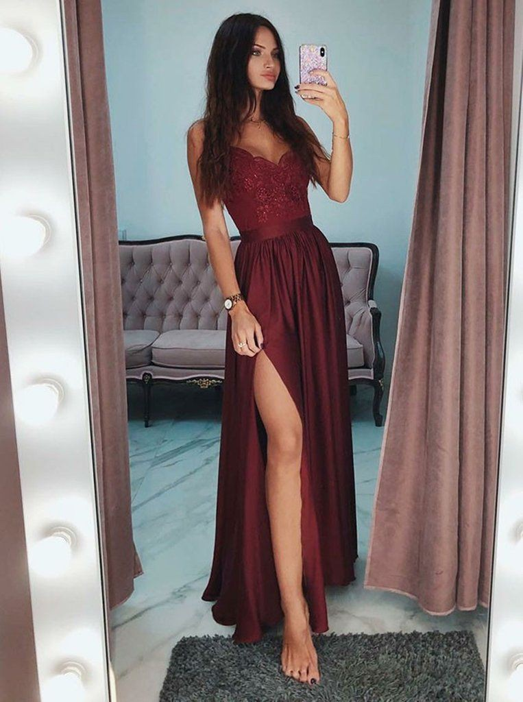 Burgundy long prom dresses, spaghetti strap, backless dress, fashion model, evening gown, formal ...