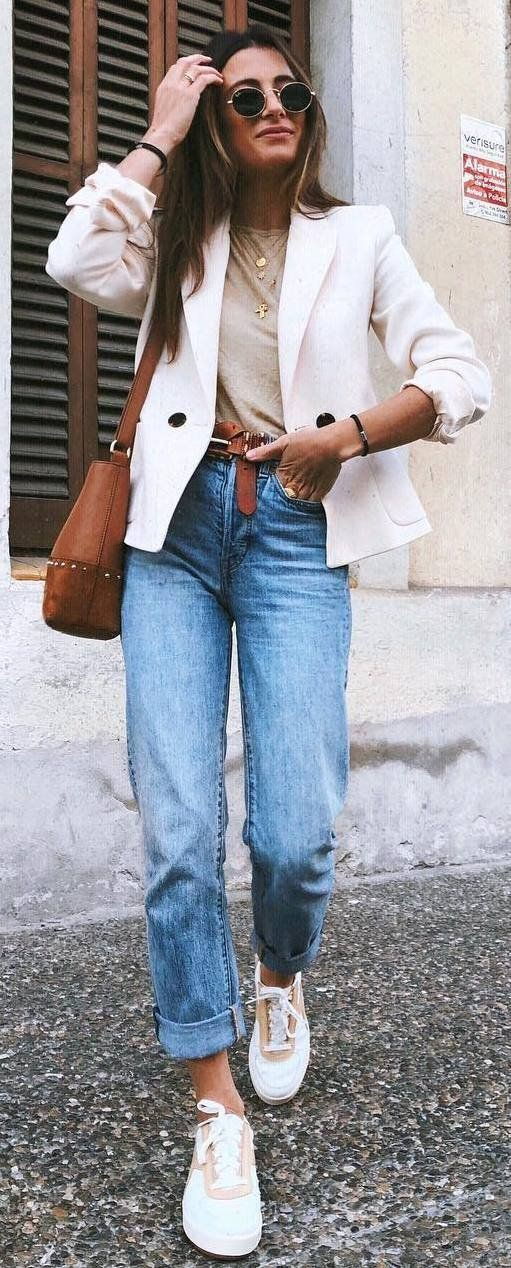 Colour dress white blazer outfit 2018, street fashion, casual wear
